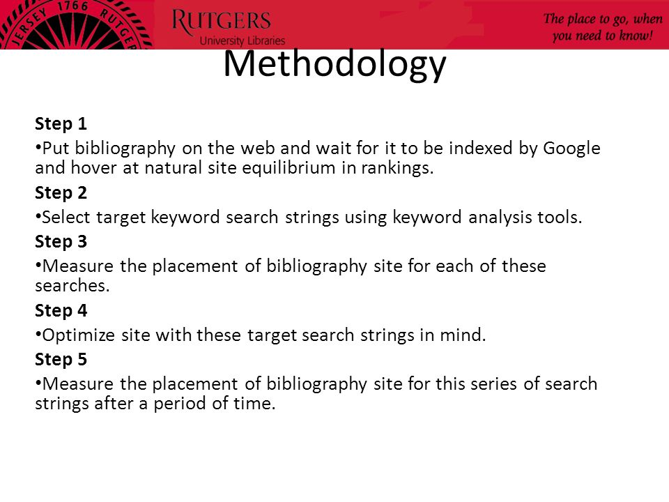 Methodology Step 1. Put bibliography on the web and wait for it to be indexed by Google and hover at natural site equilibrium in rankings.