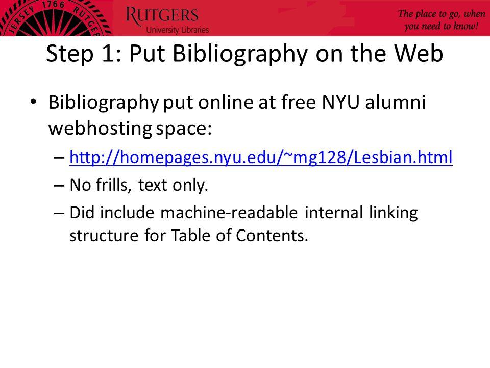 Step 1: Put Bibliography on the Web