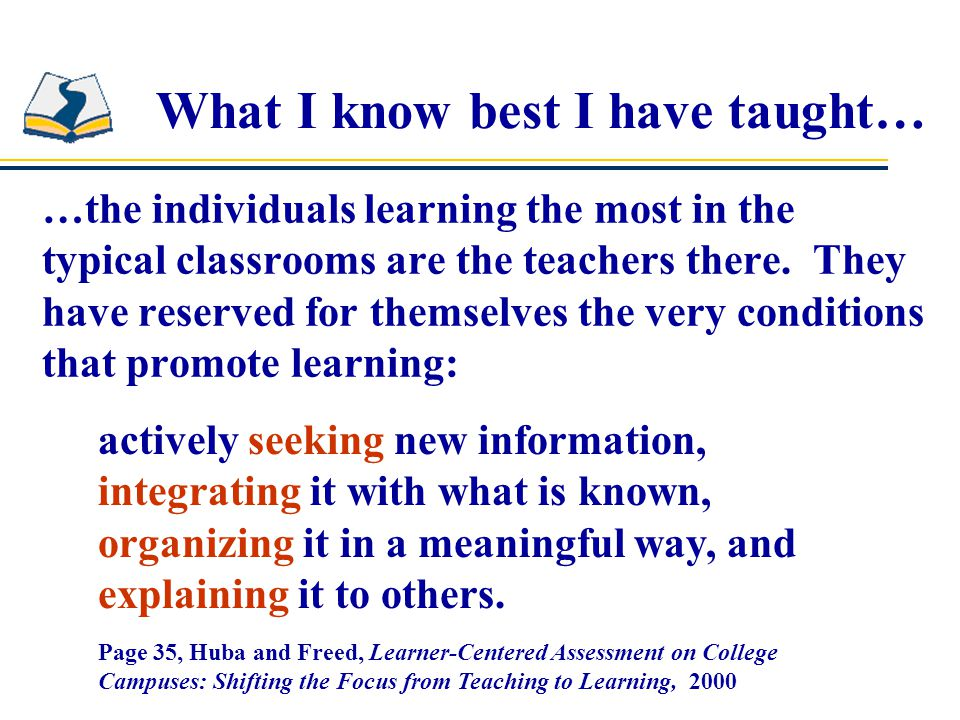 What I know best I have taught…