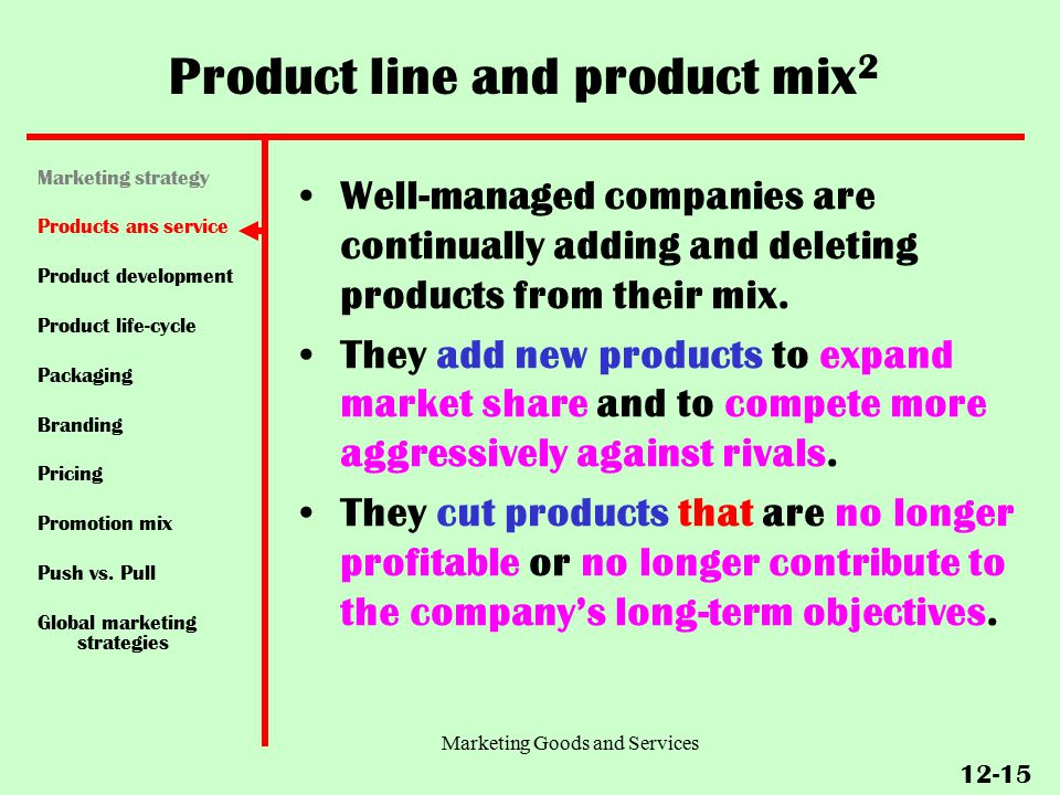 product mix and product line pdf