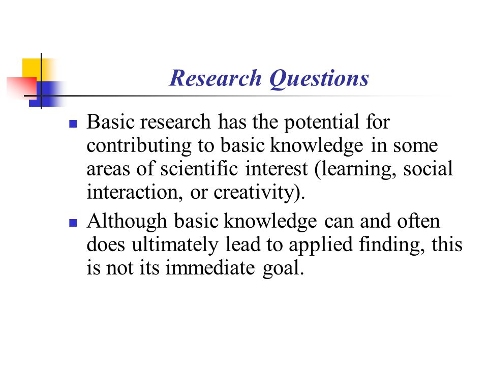 applied research questions Applied research is a form of systematic inquiry involving the practical  and  educational institutes have defined the following research question: what is the.