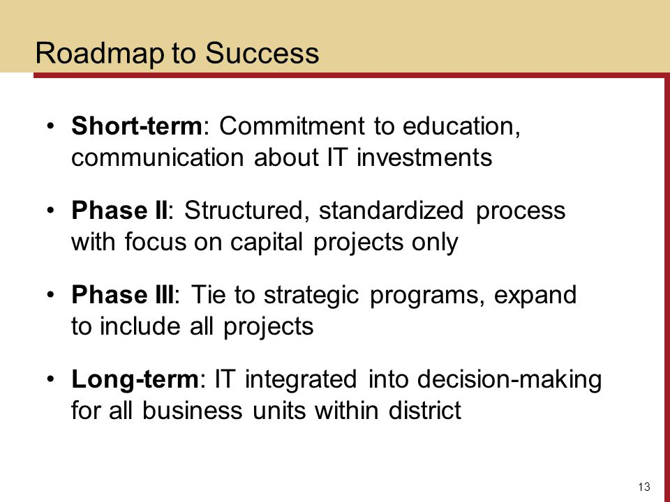 Roadmap to Success Short-term: Commitment to education, communication about IT investments.