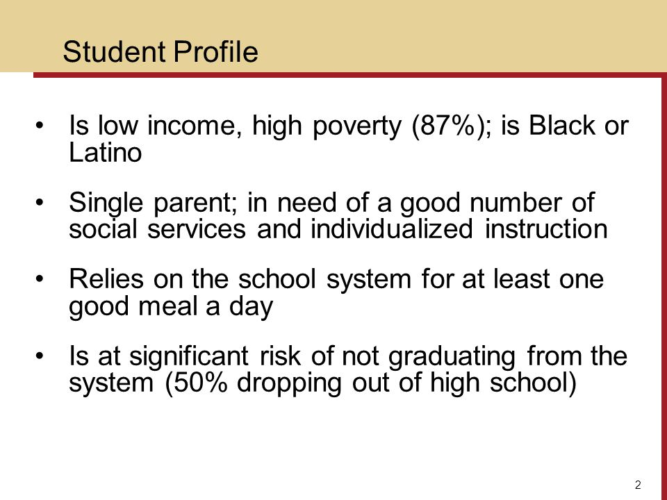 Student Profile Is low income, high poverty (87%); is Black or Latino