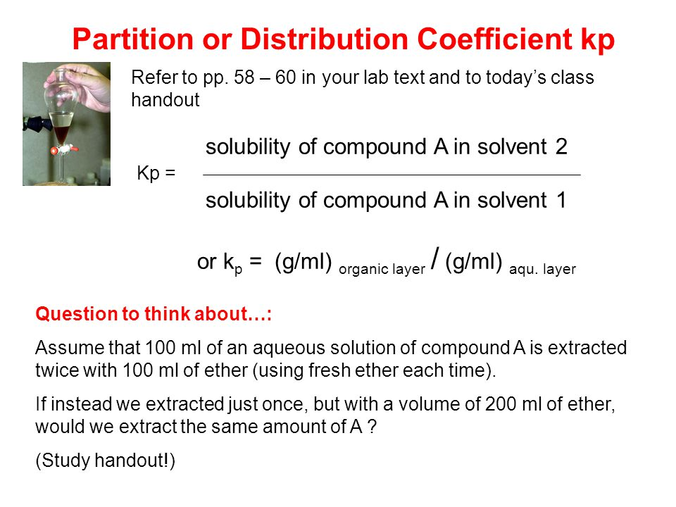 lab experiment determination of partition coefficient Experiment 4 - distribution (formal report)  experiment # 4:  the layers were titrated with 01 m and 05 m naoh to determine the partition coefficient k.