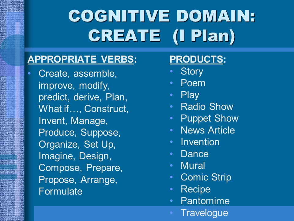 COGNITIVE DOMAIN: CREATE (I Plan)