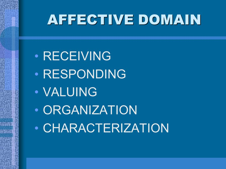 AFFECTIVE DOMAIN RECEIVING RESPONDING VALUING ORGANIZATION
