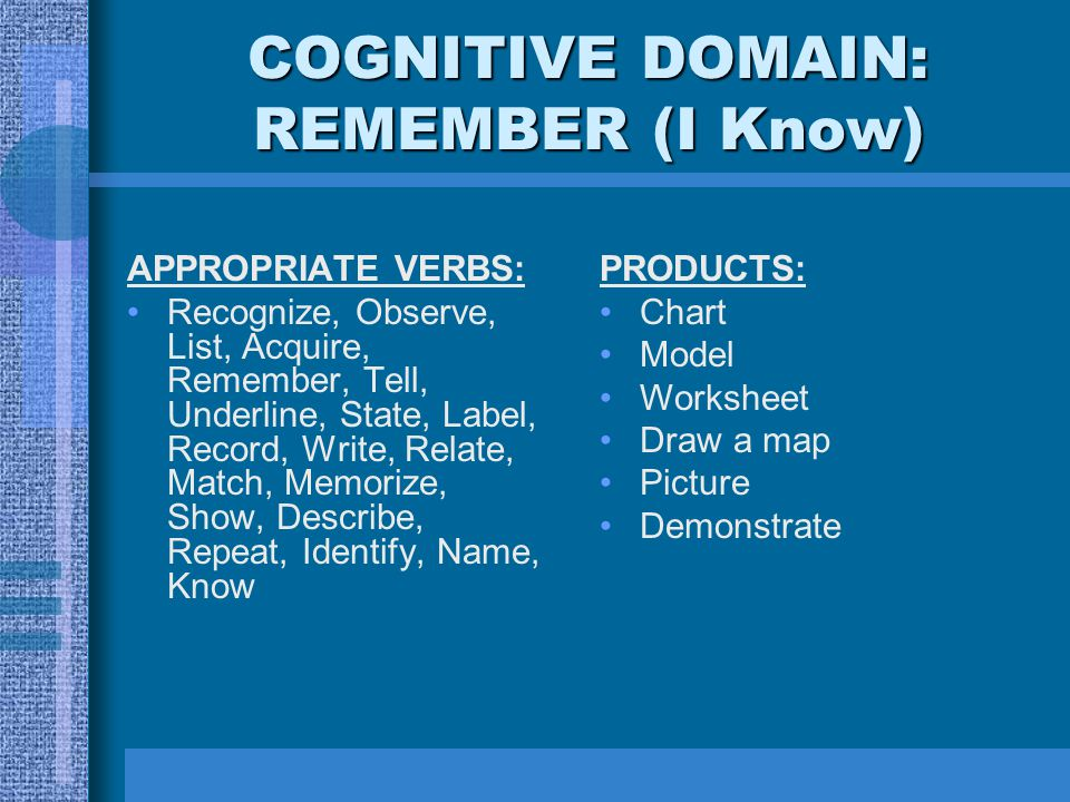 COGNITIVE DOMAIN: REMEMBER (I Know)