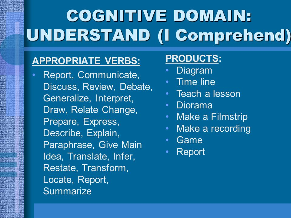 COGNITIVE DOMAIN: UNDERSTAND (I Comprehend)