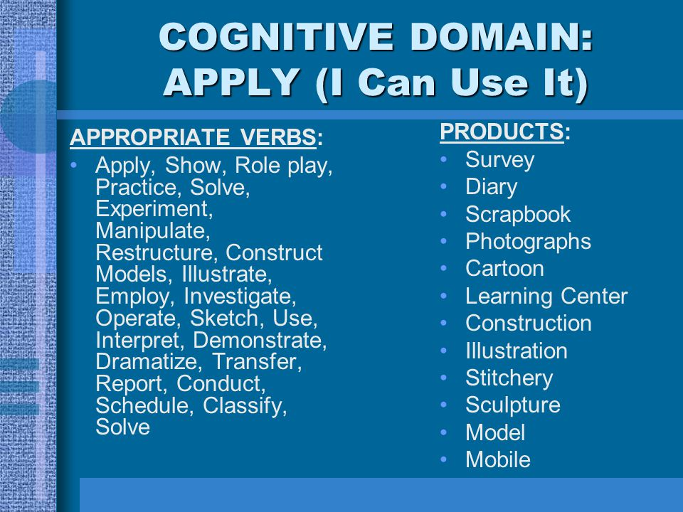 COGNITIVE DOMAIN: APPLY (I Can Use It)