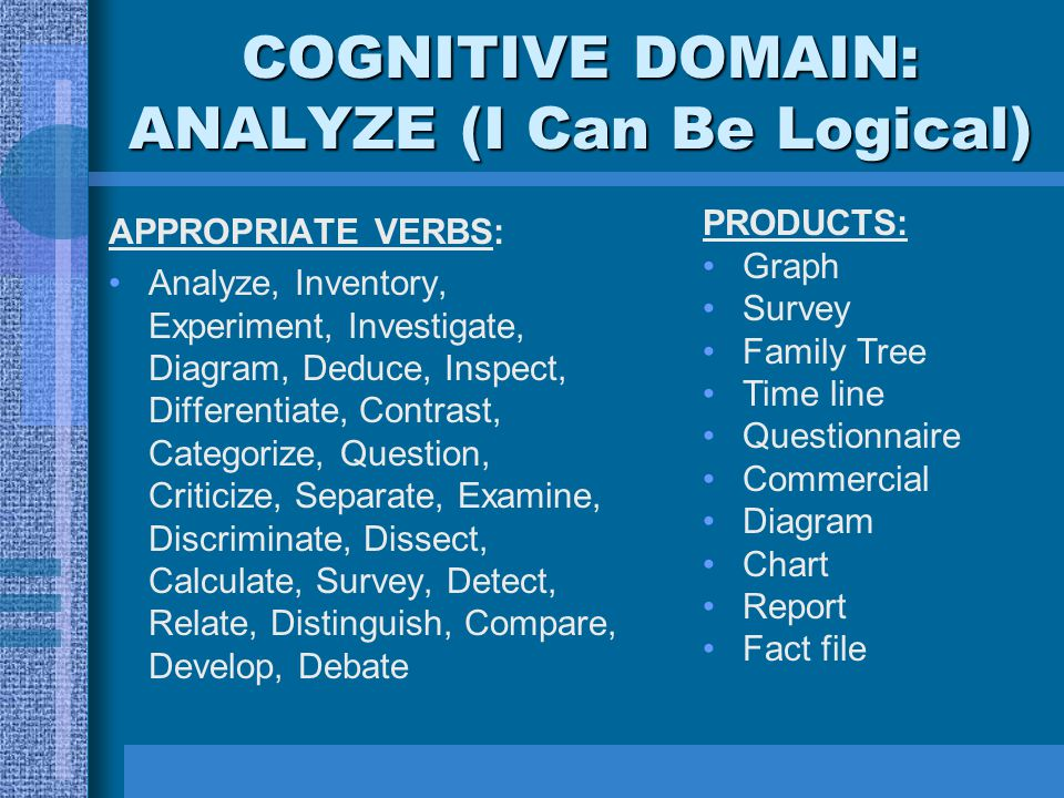 COGNITIVE DOMAIN: ANALYZE (I Can Be Logical)