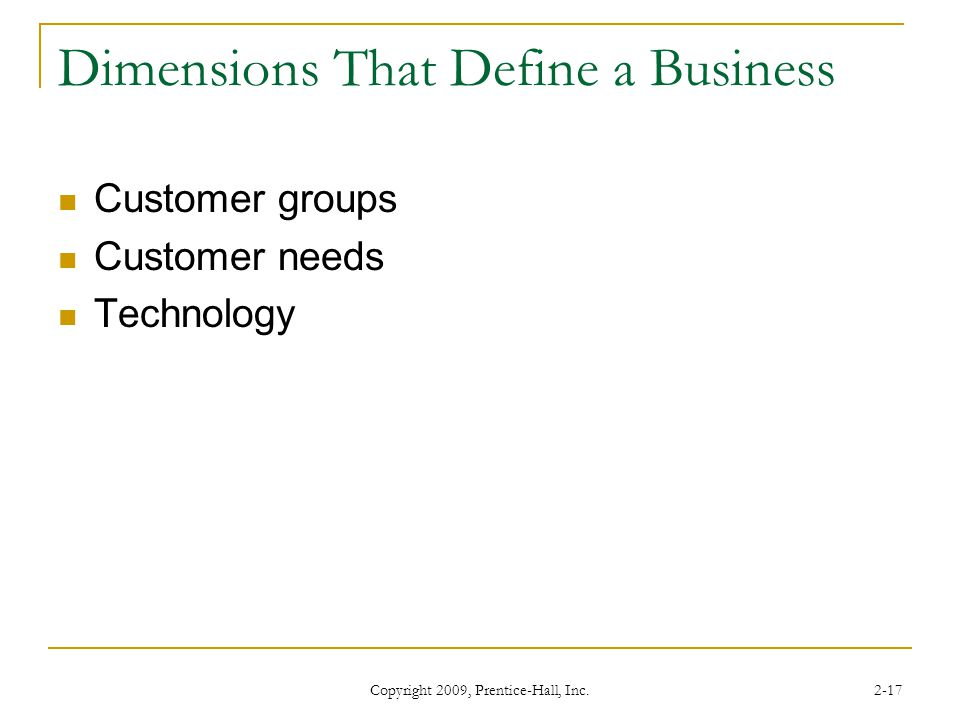 Dimensions That Define a Business