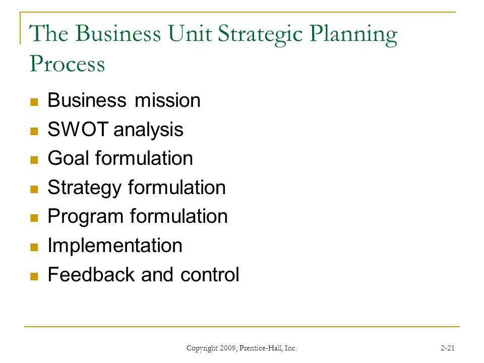 The Business Unit Strategic Planning Process