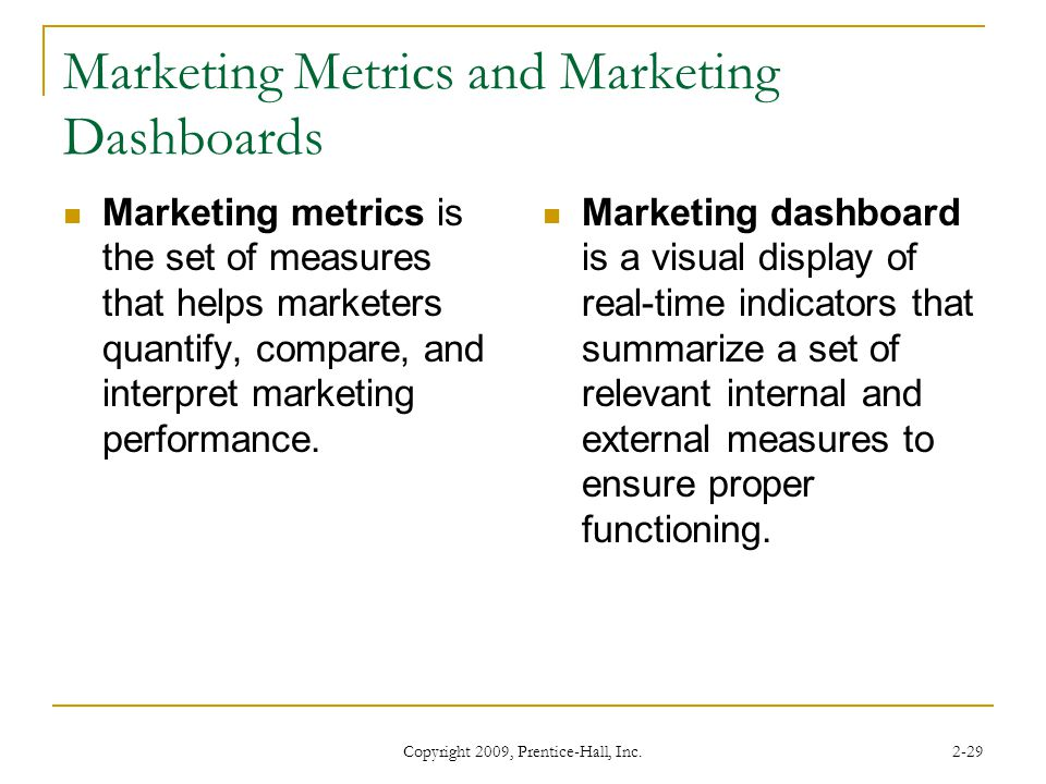 Marketing Metrics and Marketing Dashboards