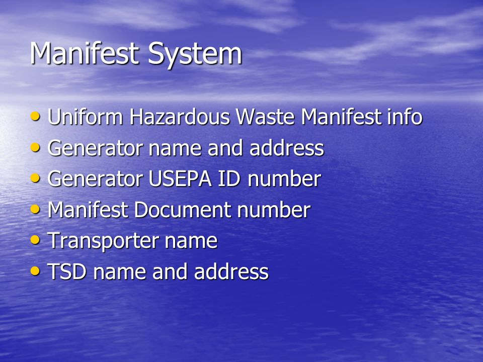 Manifest System Uniform Hazardous Waste Manifest info
