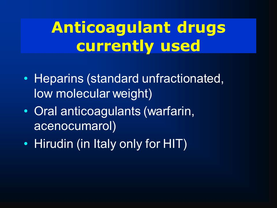 Anticoagulant drugs currently used