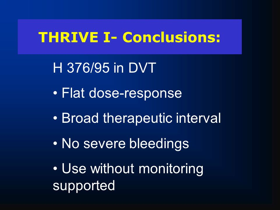 THRIVE I- Conclusions: