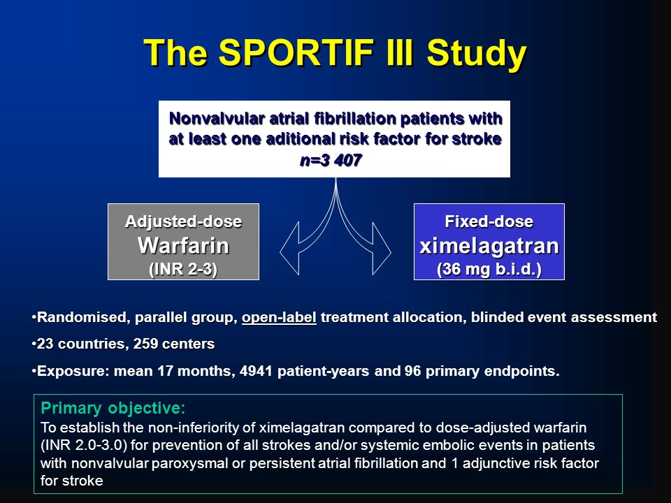 The SPORTIF III Study Warfarin ximelagatran Adjusted-dose (INR 2-3)