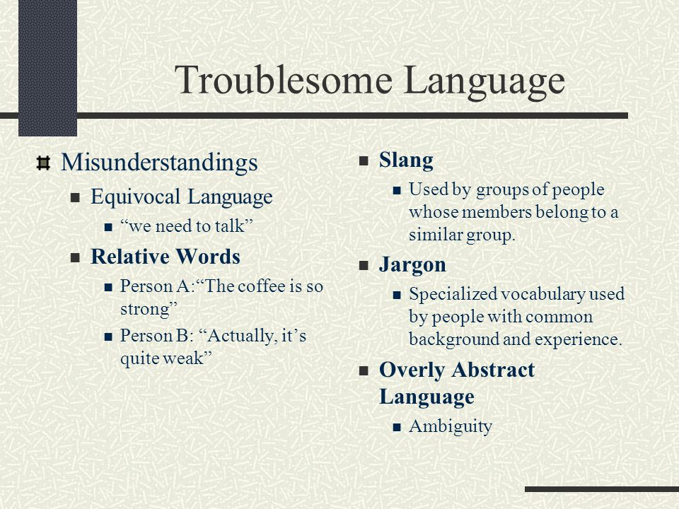 Troublesome Language Misunderstandings Slang Equivocal Language