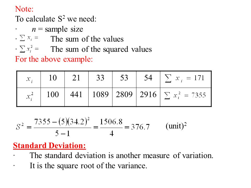 2 3 measures of dispersion variation ppt video for Square root of 1089