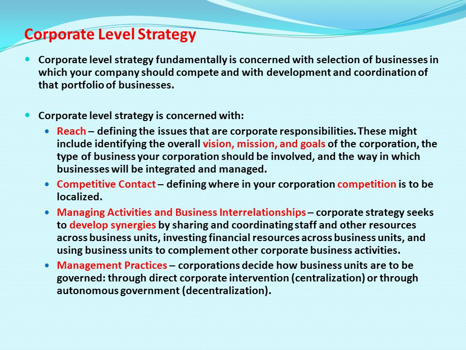 sony corporation corporate level strategy Product-market strategy to make this vision a reality, sony is 4 sony corporation 1998-00 markets and in the insurance business through sony.
