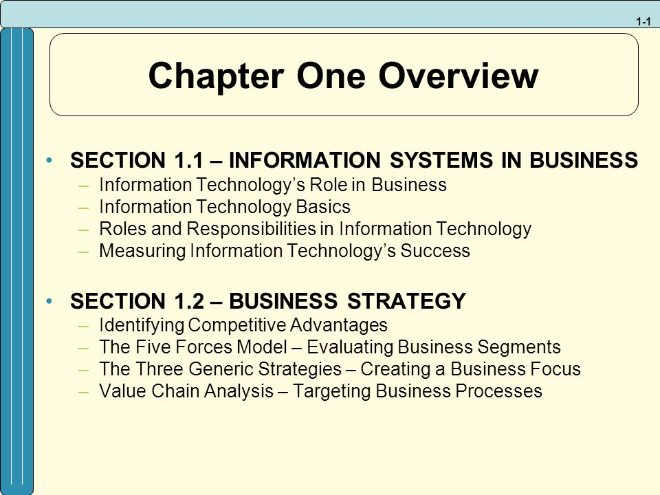 chapter one overview section 11 information systems in business - Information Technology Responsibilities