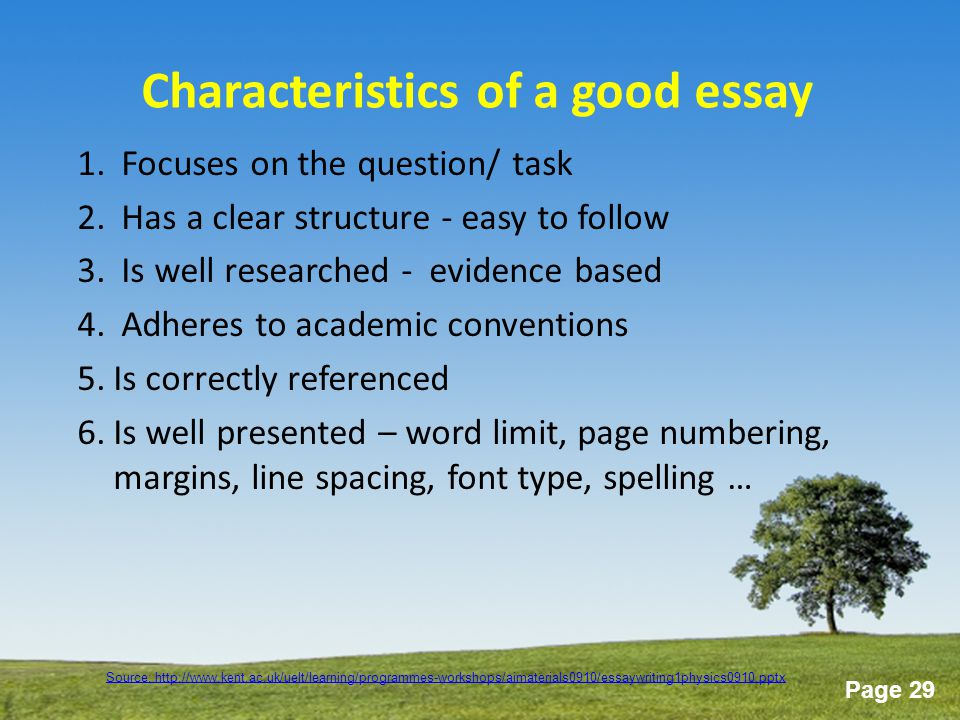 characteristics of a good screenplay essay Please check my essay luschen i think this one would be better than previous ones what are the characteristics of a good teacher use reasons and examples to support your response.