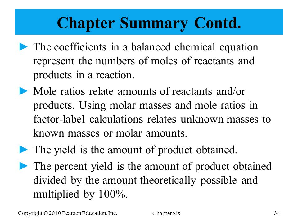 molar relationship in chemical reactions and number of moles