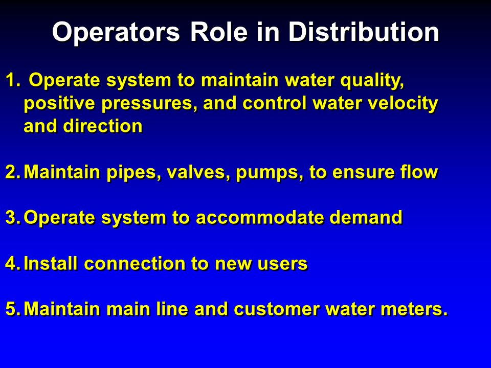 Consumers role in distribution system