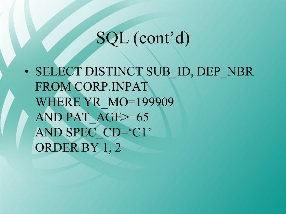 SQL (cont'd)