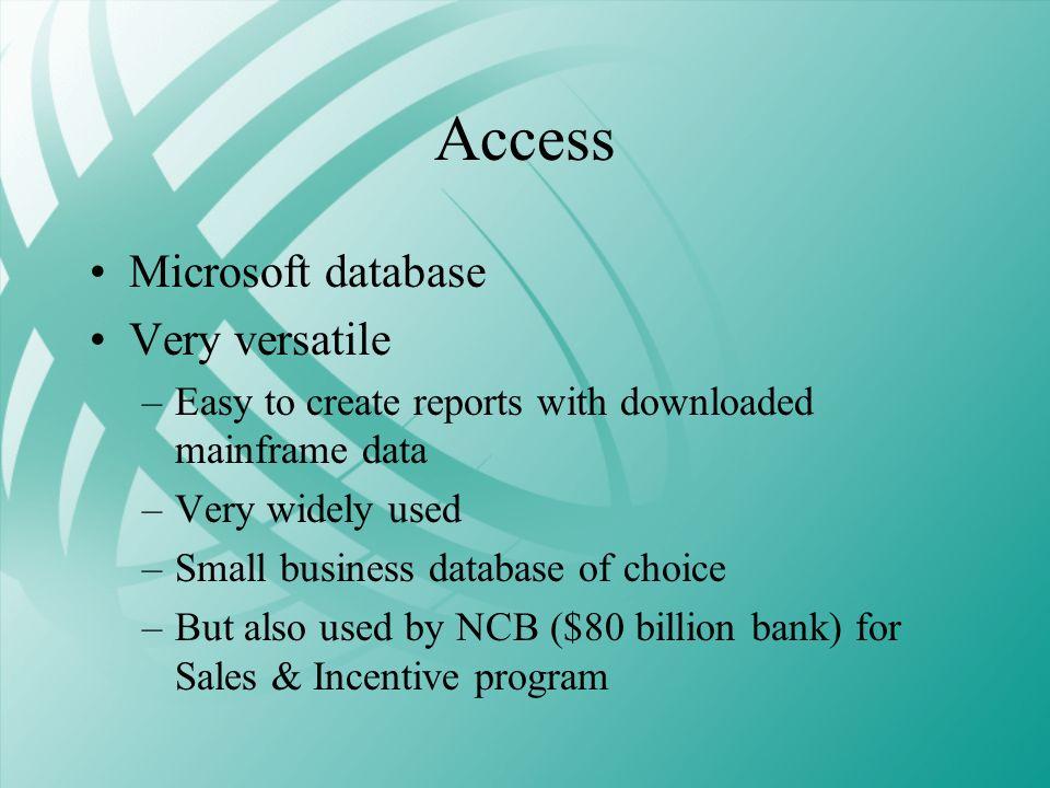 Access Microsoft database Very versatile