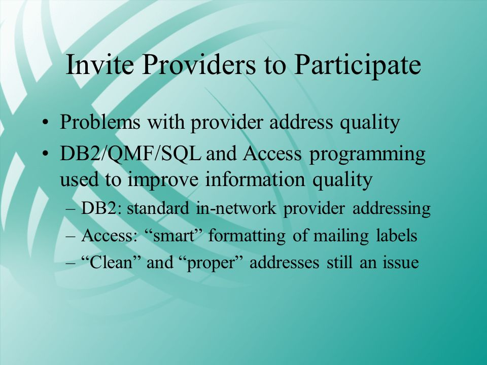Invite Providers to Participate