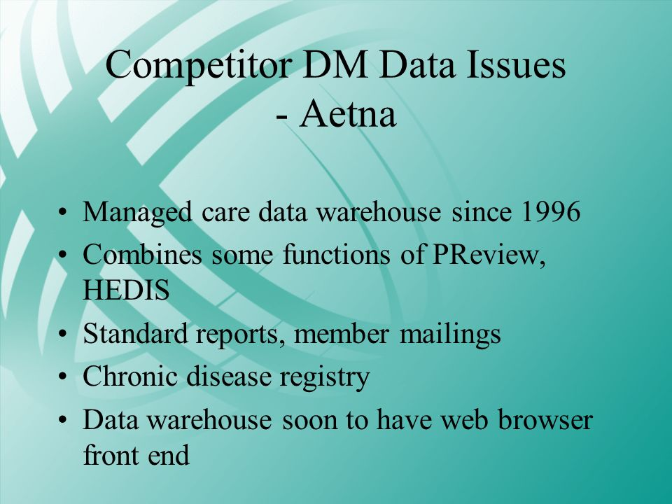 Competitor DM Data Issues - Aetna