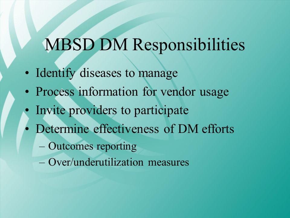 MBSD DM Responsibilities