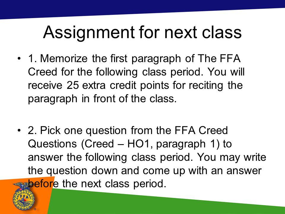 Assignment for next class
