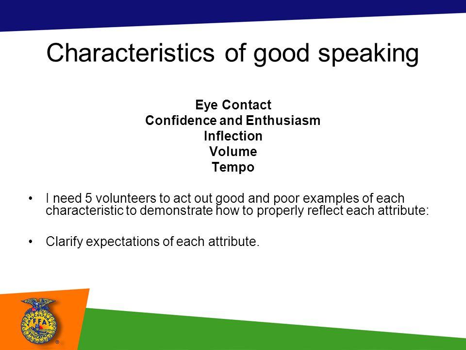 Characteristics of good speaking