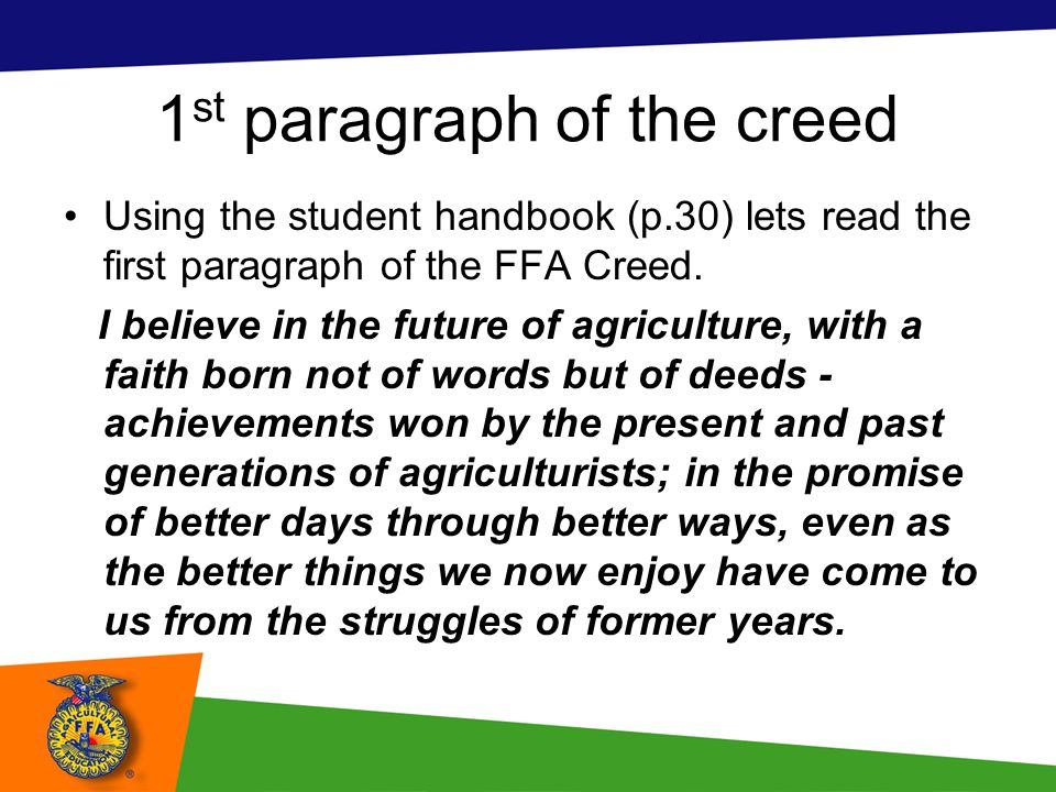 1st paragraph of the creed