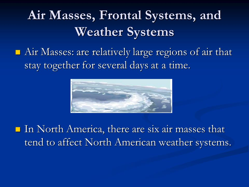 Air Masses, Frontal Systems, and Weather Systems
