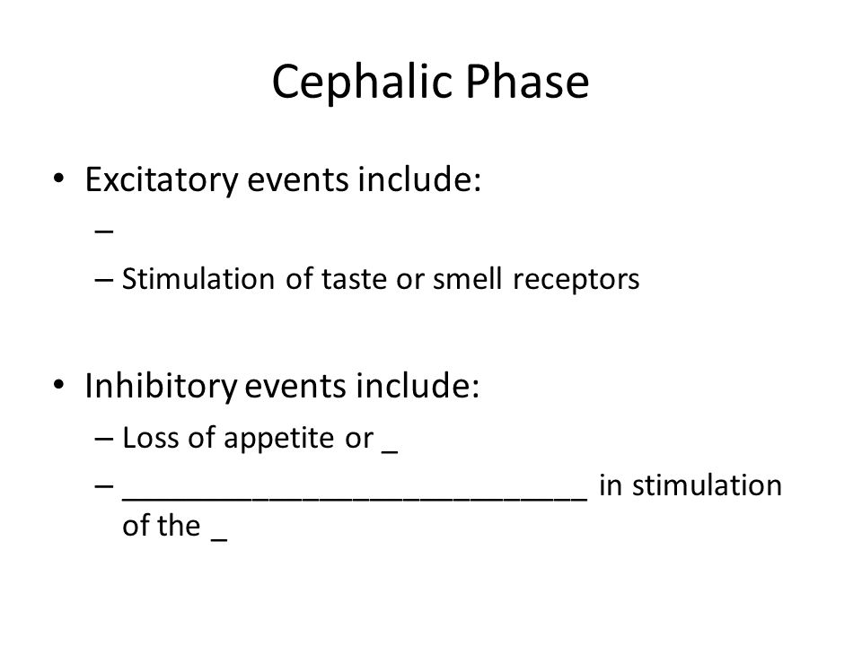 Cephalic Phase Excitatory events include: Inhibitory events include: