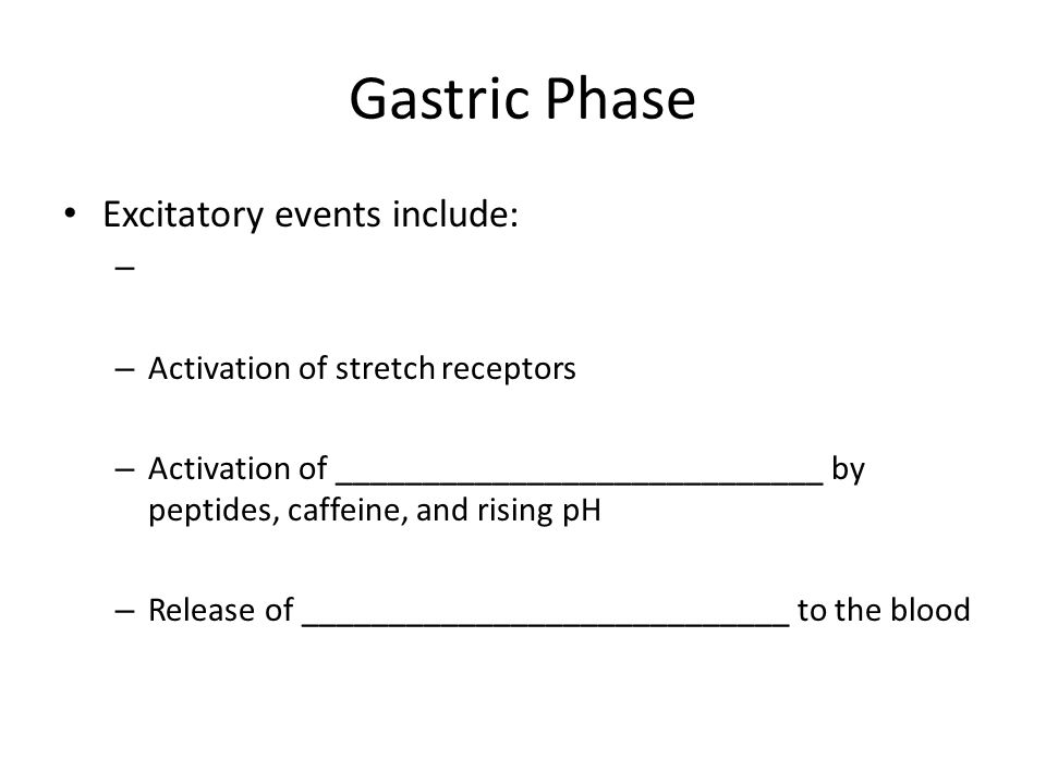 Gastric Phase Excitatory events include: