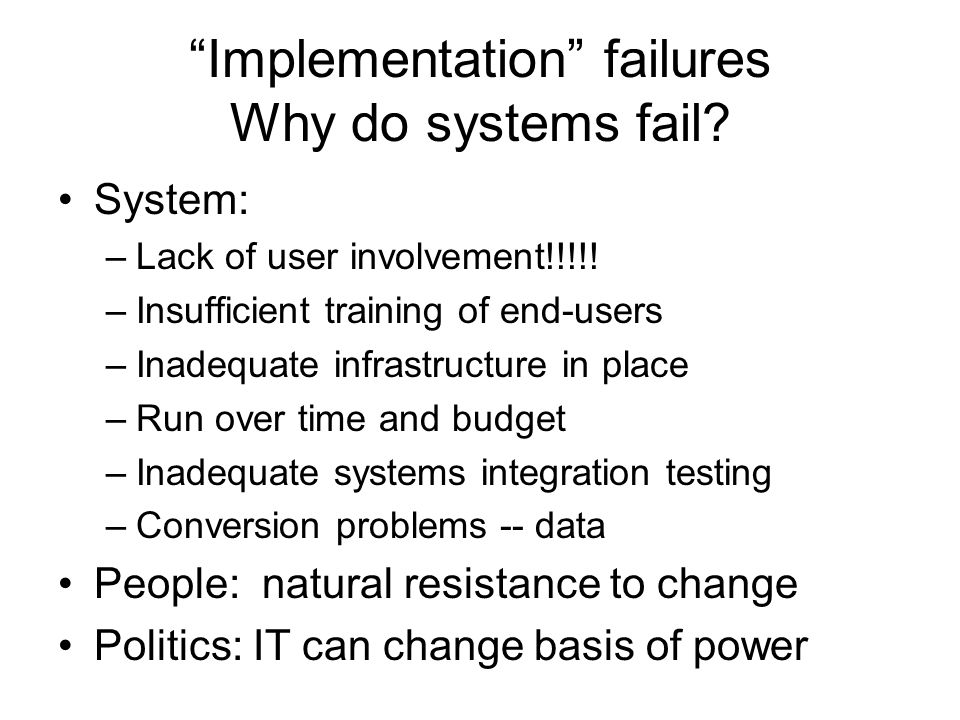 it implementation failures