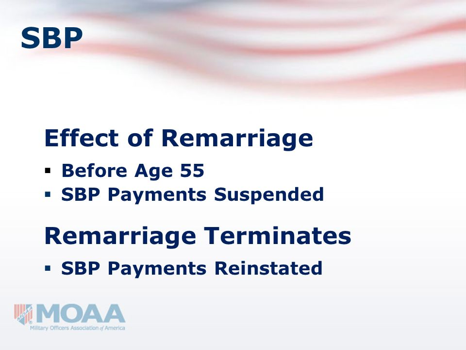 SBP Effect of Remarriage Remarriage Terminates Before Age 55