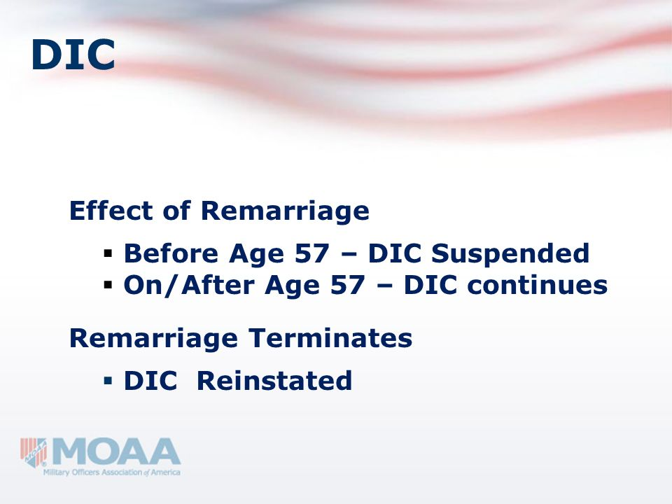 DIC Effect of Remarriage Before Age 57 – DIC Suspended