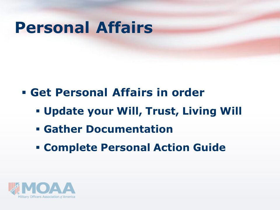 Personal Affairs Get Personal Affairs in order