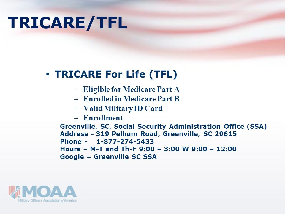 TRICARE/TFL TRICARE For Life (TFL) Enrolled in Medicare Part B