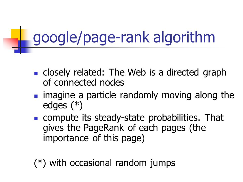Markov chains googles page rank