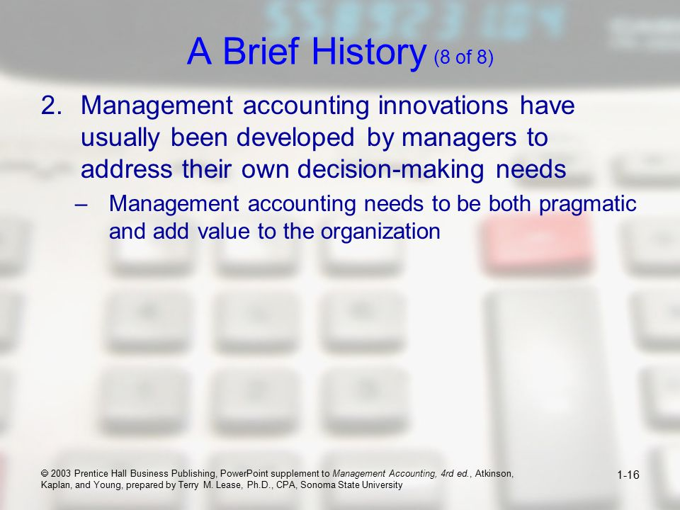 How Managerial Accounting Adds Value to Organization