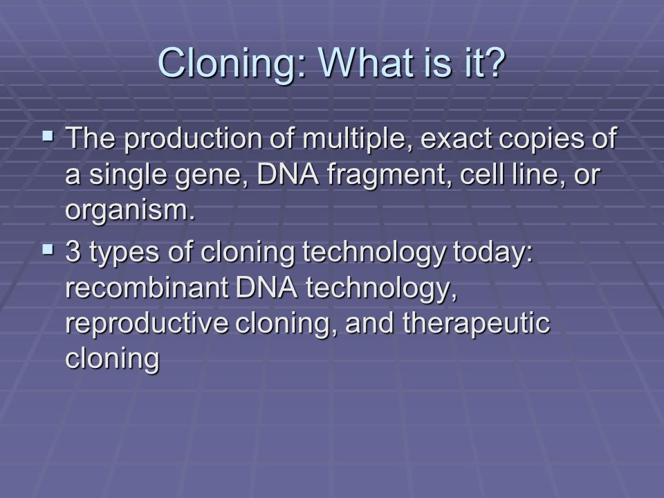 an analysis of the important elements in the cloning debate The policy debate about human cloning is a particularly vivid our analysis in chapters five and six of the combining elements of legal.