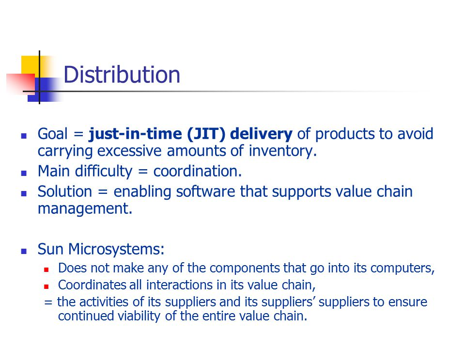 just in time distribution You're looking for the right balance between capitalizing on market demand and keep your inventory costs down to achieve the right balance, you don't want your materials management team spending time monitoring inventory levels of your production bills of materials (bom) avnet's just-in-time (jit) programs are the.