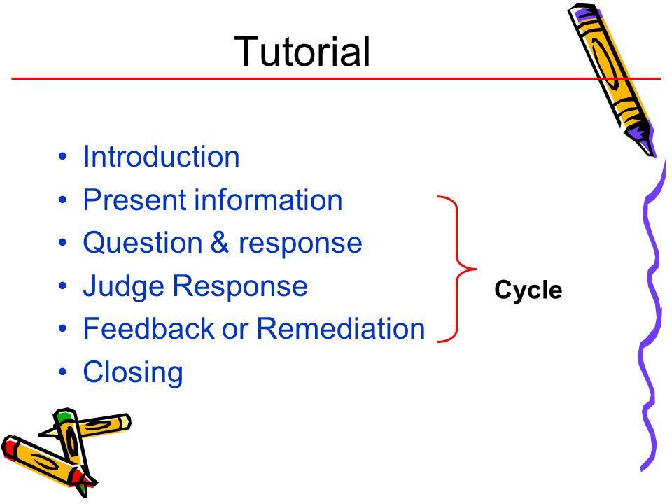 Tutorial Introduction Present information Question & response