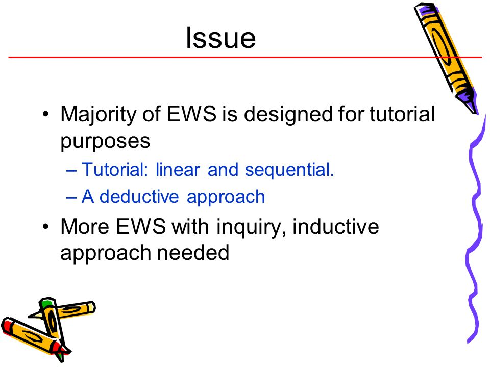 Issue Majority of EWS is designed for tutorial purposes
